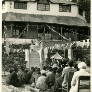 His Holiness during the opening Ceremony of Tibetan refugee school at Mussoorie in 1960. lady next to His holiness is Dr. Wealthy Fisher