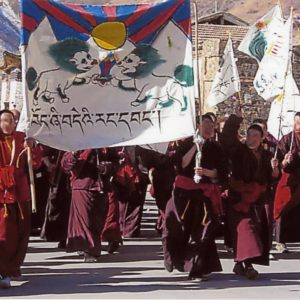 Monks in Golog, Amdo province leading a demonstration with the banned Tibetan national flag during the 2008 pan-Tibet protest, 17 March 2008, Golog, Amdo, Tib